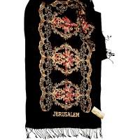 Large Embroidered Flowers 'Jerusalem' Shawl - Black Scarf