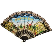 Jerusalem 'Hand Fan' Holy Land Souvenir - Black