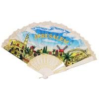 Jerusalem 'Hand Fan' Holy Land Souvenir - White