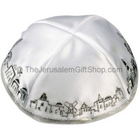 White with Silver trim Jerusalem Panorama Kippah