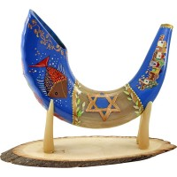 Ram's Decorated Shofar By Artist Sarit Romano - Jerusalem, Israel, Star of David, Menorah and Fish