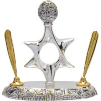 Pen Holder with Star of David and Jerusalem Scene