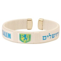 Clip-on 'Jerusalem City' Emblem 'Lion of Judah' Bracelet in Hebrew and English