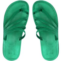 Leather Jesus Sandals - Emmaus Style - Colored Green