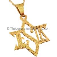 Jesus Star of David 14kt Gold Pendant
