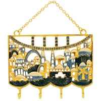 Jerusalem Old City Key Hanger Decorative Wall Hanging - Blue Enamel with Crystals