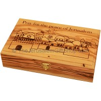 Large Olive Wood 'Pray for the Peace of Jerusalem' Box
