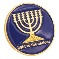 Blue Enamel Gold Menorah 'Light Unto The Nations' Lapel Pin Badge