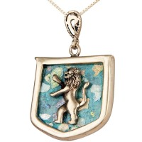 Roman Glass 'Lion of Judah' Sterling Silver Pendant - Made in Israel