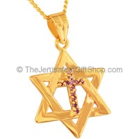 Cross inside Star of David - Gold Fill with Amethyst