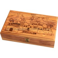 Large Olive Wood Box 'Messianic Seal' Jerusalem