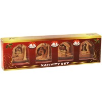 Olive Wood Christmas-Tree-Decoration - Nativity Set 4 Piece Gift Pack