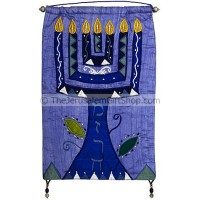 'Mizrach' Menorah blue Silk Wall Banner by Yair Emanuel
