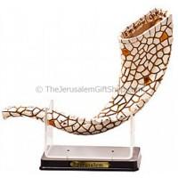 Decorative Mosaic Shofar on Stand - Gold