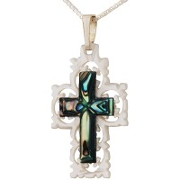 Mother of Pearl Cut-Out Design with Abalone Shell inlay Cross Pendant - Made in Jerusalem