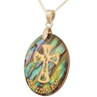 Mother of Pearl Abalone with Metallic Gold 'Cross' with 'Jerusalem' Pendant