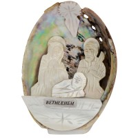 Mother of Pearl Nativity Scene inside an Abalone Shell - Made in Bethlehem