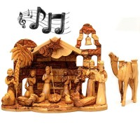 Musical Olive Wood Nativity Set from Bethlehem - Silent Night - Camel