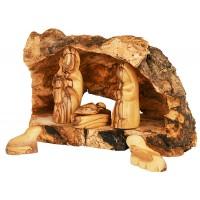 Olive Wood Branch Nativity from Bethlehem - Natural Olive Wood Bark - 6 Piece Hand Carved Faceless Figures Set
