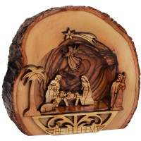 Bethlehem Olive Wood Nativity Scene Ornament with Bark