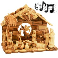 Musical Nativity Set from Olive Wood - with faces 12 piece set