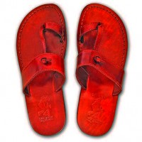 Camel Leather Jesus Sandals - Nazareth Style - Colored - Red