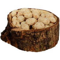 Olive Wood Snack Bowl with Natural Bark from Bethlehem - leftview