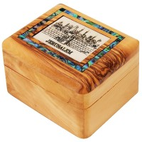 Olive Wood Jewelry Box with Mother of Pearl 'Jerusalem' Scene inlay