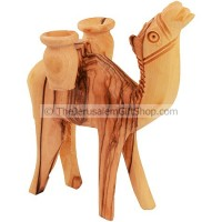Olive Wood Camel Carrying Two Jars
