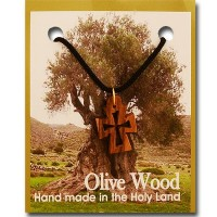 Small Olive Wood Cut-Out Byzantine Cross Pendant with Necklace