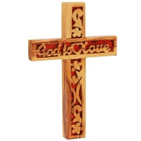 Olive Wood 'God is Love' Heart Cross - Made in the Holy Land
