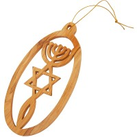 Olive Wood 'Grafted In' Christmas Tree Decoration - Made in the Holy Land