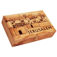 Large Olive Wood Box - Jerusalem - Walls and Gates - Made in Bethlehem