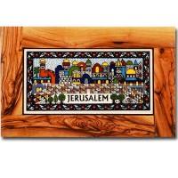 Olive wood framed rectangle Armenian tile wall hanging - Jerusalem
