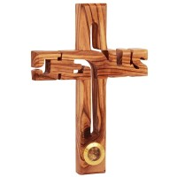 Jesus Cross in Olive Wood with Frankincense from Jerusalem