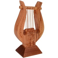Olive Wood 'David Harp' with 'Star of David' and Palm Branch Etching