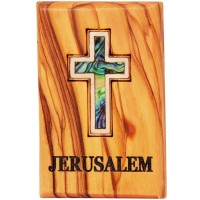 Fridge Magnet - Olive Wood with Mother of Pearl 'Cross' Inlay - 'Jerusalem' Engraving - Made in Bethlehem