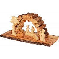 Olive Wood Nativity Stable Scene Ornament from the Holy Land l Padded Olive Wood Log Roof