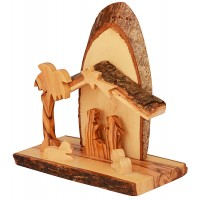 Olive Wood Nativity Scene Ornament from the Holy Land l Sliced Branch - Natural Roof