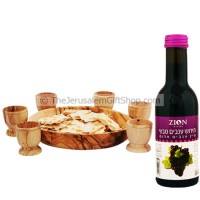 Communion Wine, Bread Dish and Six Olive Wood Cups