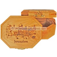Hexagon shaped Olive Wood Box - Temple Mount