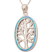 'Tree of Life' Pendant with Dark Opal Oval Frame - Sterling Silver - Tall
