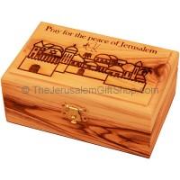 Medium Olive Wood 'Pray for the Peace of Jerusalem' Box