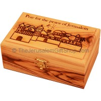 Medium Olive Wood 'Pray for the Peace of Jerusalem' Box