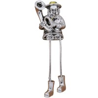 Rabbi Figurine - Blowing a Trombone - Stick Legs
