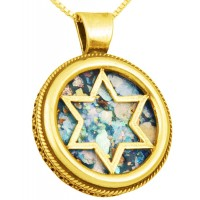 Roman Glass 'Star of David' Round 14k Gold Pendant - Made in Israel