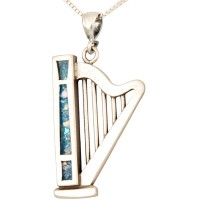 Roman Glass 'King David Harp' Pendant - 925 Sterling Silver - Made in the Holy Land