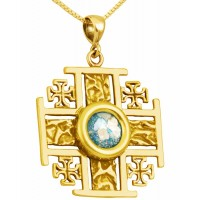 Roman Glass 'Jerusalem Cross' Five-Fold Rugged Cross Pendant - 14k Gold - Made in the Holy Land