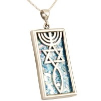 Roman Glass 'Grafted In' Messianic Pendant - Sterling Silver - Large - Made in Israel