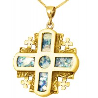 Roman Glass 'Jerusalem Cross' 5 Fold - Rugged Cross Pendant - 14k Gold - Made in the Holy Land